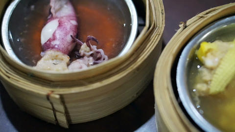 Dim Sum, minced pork wrapped, seafood, variety of traditional Chinese food Footage