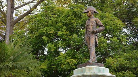 Statue of Bernardino Senna Fernandes at Casa Garden in Macau Footage