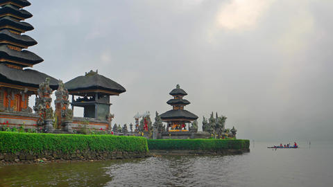 Local Hindus Approach Pura Ulun Danu Bratan Temple by Boat Footage