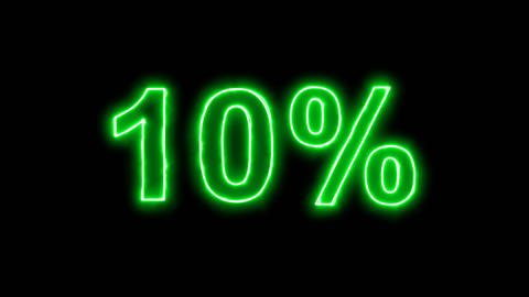 Neon flickering green sale tag 10% in the haze. Alpha channel Premultiplied - Animation