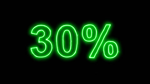 Neon flickering green sale tag 30% in the haze. Alpha channel Premultiplied - Animation