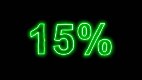 Neon flickering green sale tag 15% in the haze. Alpha channel Premultiplied - Animation