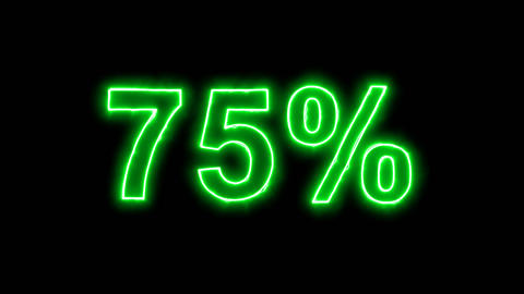Neon flickering green sale tag 75% in the haze. Alpha channel Premultiplied - Animation