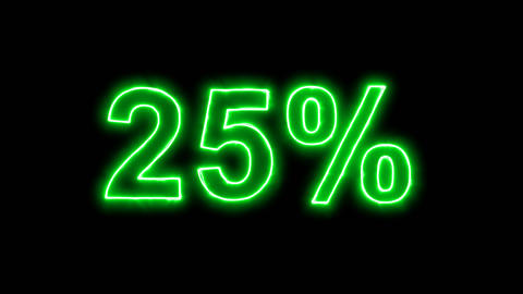 Neon flickering green sale tag 25% in the haze. Alpha channel Premultiplied - Animation