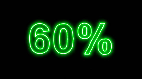 Neon flickering green sale tag 60% in the haze. Alpha channel Premultiplied - Animation