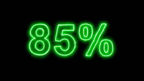 Neon flickering green sale tag 85% in the haze. Alpha channel Premultiplied - Animation