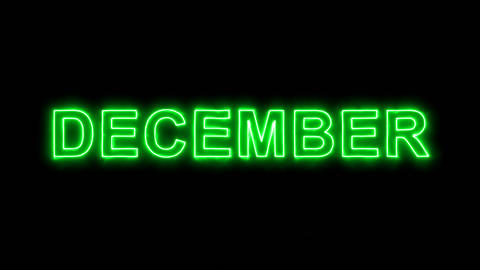 Neon flickering green name of the month DECEMBER in the haze. Alpha channel Animation
