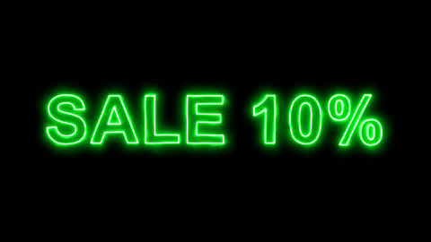 Neon flickering green sale tag SALE 10% in the haze. Alpha channel Premultiplied Animation