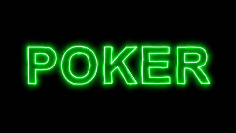 Neon flickering green game POKER in the haze. Alpha channel Premultiplied - Animation