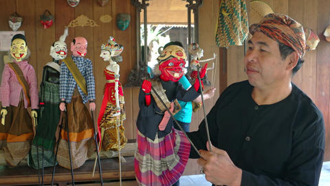 Traditional. Balinese theater puppets at Taman Nusa Cultural Park Footage