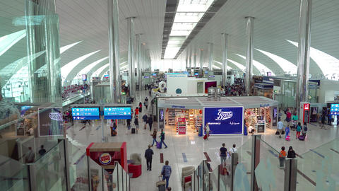Modern Concourse in main Passenger Terminal at Airport. with Sound Footage