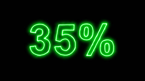 Neon flickering green sale tag 35% in the haze. Alpha channel Premultiplied - Animation