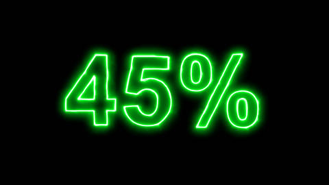 Neon flickering green sale tag 45% in the haze. Alpha channel Premultiplied - Animation