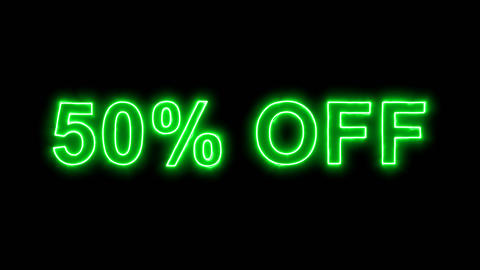 Neon flickering green sale tag 50% OFF in the haze. Alpha channel Premultiplied Animation