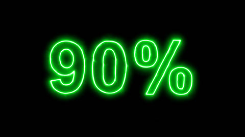 Neon flickering green sale tag 90% in the haze. Alpha channel Premultiplied - Animation