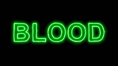 Neon flickering green text BLOOD in the haze. Alpha channel Premultiplied - Animation