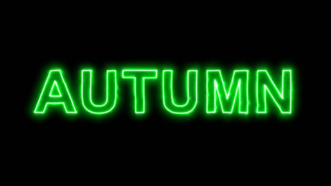 Neon flickering green season name AUTUMN in the haze. Alpha channel Animation