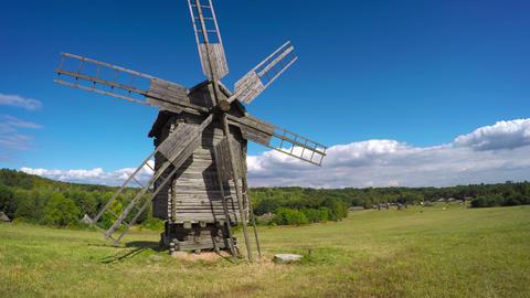 Antique Windmill on a Ukrainian Hillside. Video Footage
