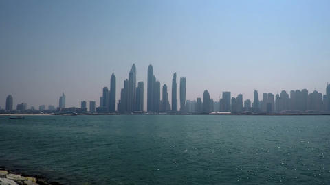 Dramatic Coastal Cityscape of Dubai through the Haze Live Action