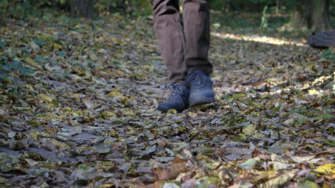 Hiker Walking over Dry Leaves in the Forest with Sound Footage
