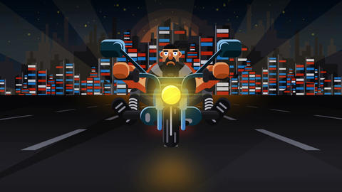 Biker Flat Footage (1 Bikers) Animation