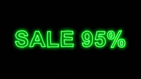 Neon flickering green sale tag SALE 95% in the haze. Alpha channel Premultiplied Animation