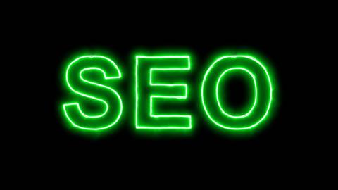 Neon flickering green abbreviation SEO in the haze. Alpha channel Premultiplied Animation