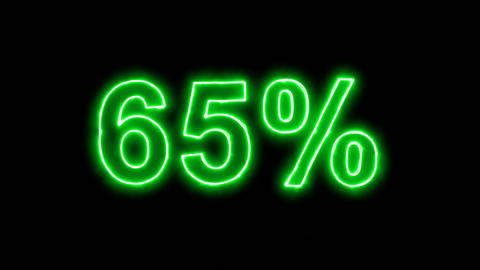 Neon flickering green sale tag 65% in the haze. Alpha channel Premultiplied - Animation