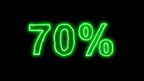 Neon flickering green sale tag 70% in the haze. Alpha channel Premultiplied - Animation