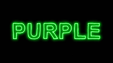 Neon flickering green text PURPLE in the haze. Alpha channel Premultiplied - Animation