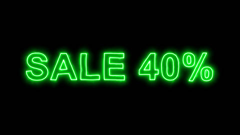 Neon flickering green sale tag SALE 40% in the haze. Alpha channel Premultiplied Animation