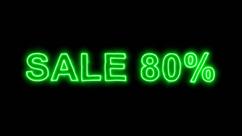 Neon flickering green sale tag SALE 80% in the haze. Alpha channel Premultiplied Animation