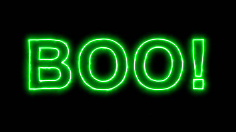 Neon flickering green text BOO! in the haze. Alpha channel Premultiplied - Animation