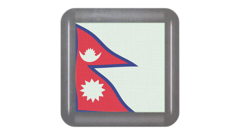 Nepal flag waving in the wind. Icon in the frame. Animation loop Bild