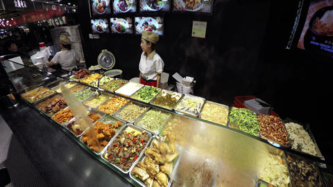 Delicious Foods at a Food Court Vendor's Stand at the Marina Bay Sands Footage