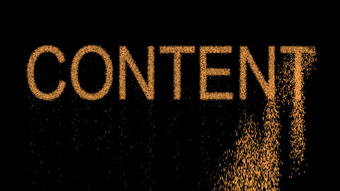 text CONTENT appears from the sand, then crumbles. Alpha channel Premultiplied - Animation