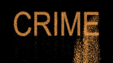 text CRIME appears from the sand, then crumbles. Alpha channel Premultiplied - Animation