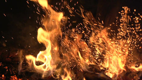 Warm cozy fire in a Home Fireplace. Real wood Burning in a Brick Fireplace Footage