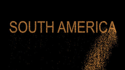 continent name SOUTH AMERICA appears from the sand, then crumbles. Alpha channel Animation