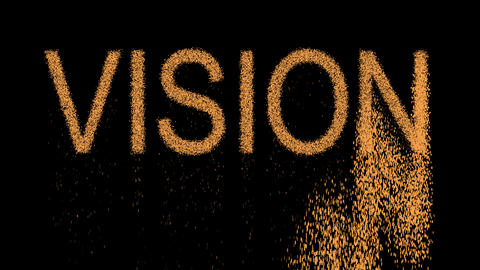text VISION appears from the sand, then crumbles. Alpha channel Premultiplied - Animation