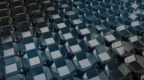3d Hi tech geometric blue square cell pattern background フォト