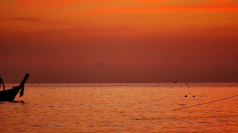 silhouette Long-tail boats sailing on the andaman sea sea Footage