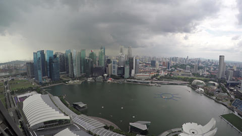 Dramatic Cityscape from atop Marina Bay Sands Resort in Singapore Footage