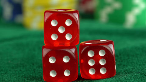Gambling Red Dice Poker Cards and Money Chips Footage