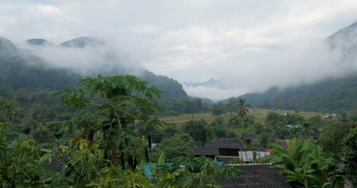 Time lapse of fog, mist, and clouds moving in the jungle and mountains Footage