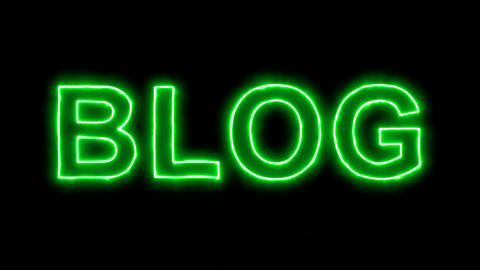 Neon flickering green text BLOG in the haze. Alpha channel Premultiplied - Animation