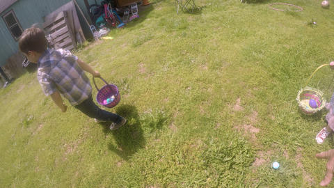 Small little 4 - 5 year old boy running and finding Easter eggs and putting them Footage