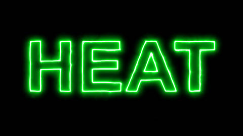 Neon flickering green text HEAT in the haze. Alpha channel Premultiplied - Animation