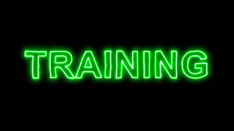 Neon flickering green text TRAINING in the haze. Alpha channel Premultiplied - Animation