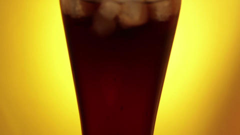 glass with ice and soda drink cola Footage